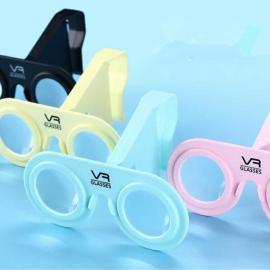 VR PLUS Virtual Reality Folding 3D Glasses Plastic Cardboard Portable VR Glasses for Smartphone Blue