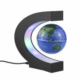 C Shape Magnetic Levitation Floating World Map Globe Rotating with LED Light Black & Blue