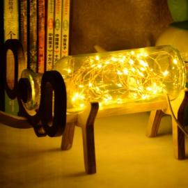 3D Illusion Wood Glass Elephant Style LED String Night Light Table Lamp Warm Yellow