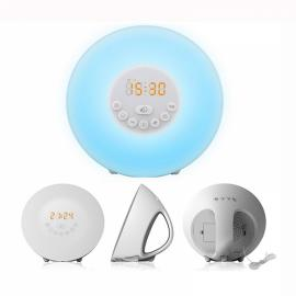 Wake-up Light Sunrise Simulated Bedside Lamp with Touch LED and FM Radio US Plug White