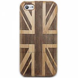 UK Flag Pattern Detachable Protective Wooden Back Case for iPhone 5C Brown & Black