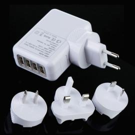 4-Port USB EU/AU/US/UK Plug Universal Travel Charger White