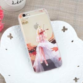 Slim Soft TPU Violin Girl Embossment Diamond Rhinestone Protective Back Case Cover for iPhone7