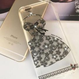 Creative Sexy Black Lace Dress Pattern Design Rhinestone Soft TPU Protective Back Case Cover for 4.7