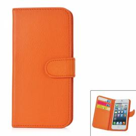 Fashionable PU Leather Flip Open Protective Case with Card Slots for iPhone 5 Orange
