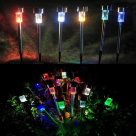 10pcs Solar Panel LED Spike Spot Light Landscape Garden Yard Path Lawn Outdoor Solar Lamps Colorful Light
