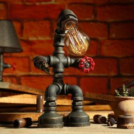 Vintage Industrial Style Metal Robot Pipe Table Desk Lamp with Red Valve Handle and Switch