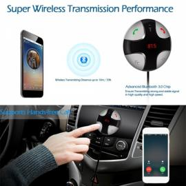 Car Wireless Bluetooth FM Transmitter Stereo Music Box Hands-free Kit with TF Card Slot Black