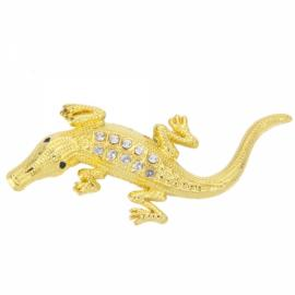 Car Metal Crocodile Shape Decorative Refitting Mark with Rhinestone Golden