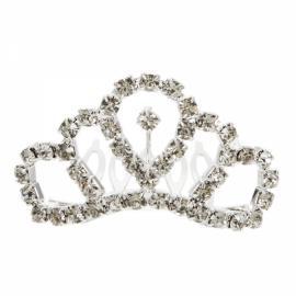 Circular Rhinestone Crown Comb Hair Clip Tiara