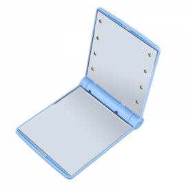 Hot Portable LED Mirror Makeup Cosmetic 8 LED Lights Lamps Folding Compact Pocket Mirror Blue