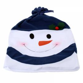 Family Style Christmas Snowman Chair Cover Kitchen Dinner Seat Back Home Party Decoration Blue
