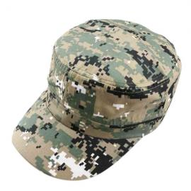 Unisex Camouflage Military Disguise Flat-top Cap Sport Baseball Hunting Hiking Cap Gray Green & Khaki Background