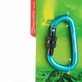 NatureHike 6cm Stainless Steel D Locking Carabiner Blue