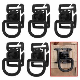 5pcs Outdoor 360 Degrees Rotation POM Tactical D-Ring Buckles for MOLLE Locking Carabiner Backpack Black