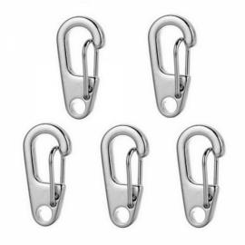 5pcs Outdoor D2 Mini Zinc Alloy Carabiner Buckles Keychains Silver