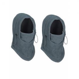 2Pcs Thermal Fleece Balaclava Hat Hooded Neck Warmer Winter Sports Face Mask Gray