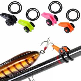 Plastic Fishing Rod Tackle Hook Holder Bait Loop for Lures Rod Hook Keeper Yellow