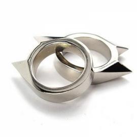 Cat Ear Mini Alloy Self Defense Ring Weapon Window Breaker Rescue Gear Silver