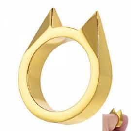 Outdoor Cat's Ear Zinc Alloy Broken Window Tool Finger Ring Golden