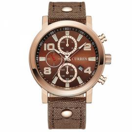 CURREN 8199 Men Leisure Waterproof Sport Watch with Canvas Band Calendar Function Brown Dial & Rose Red Frame
