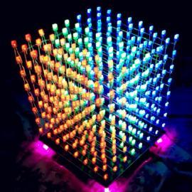 8 x 8 x 8 LED Cube 3D8 Light Square Blue LED Electronic DIY Kit with Welded PCB Board + Blue & Red & Green Square Lamp