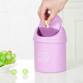 Creative Shake Cover Mini Trash Can Multifunctional Office Desktop Garbage Bucket Plastic Trash Bin Purple