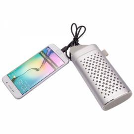 YM-372 2-in-1 Portable 4400mAh Plug-in Card Wireless Bluetooth Speaker & Power Bank Silver