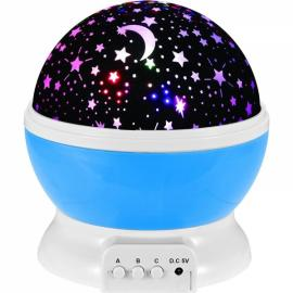 Kids LED Rotating Projector Starry Night Lamp Star Sky Light - Blue