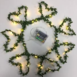 30 LED Green leaves Copper 3M Fairy String Lights - Warm White