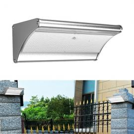 Solar Waterproof IP65 Outdoor 48 LED Alluminum Light Control PIR Motion Sensor Wall Lamp Size L Silver