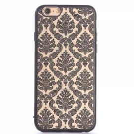 Clear Matte Back Damask Phone Case Mandragora Henna Flower Pattern Cover Black