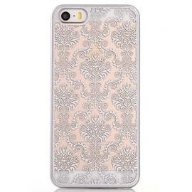 Clear Matte Back Damask Phone Case Mandragora Henna Flower Pattern Cover Silver