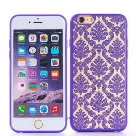 Retro Engraved Back Case Cover Pattern Matte TPU & PC for iPhone 6 Plus/6S Plus Purple