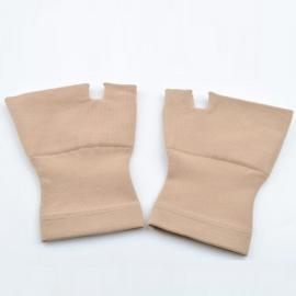 1 Pair Carpal Tunnel Thumb Hand Wrist Brace Support Compression Bandage Elastic Gloves - Beige Size L