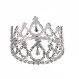 Girl Baby Crystal Rhinestone Full Circle Round Mini Tiara Crown Bridal Party Prom Headpiece Hair Jewelry Silver BNSC-1615