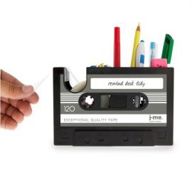 Vintage Tape Style Creative Office Pencil Pot Stationery Desk Tidy Container with Adhesive Tape Black