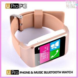 U-pro3 SIM Card Voice Recording Pedometer Push Notification Remote Shutter Bluetooth Smart Watch Golden