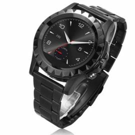NO.1 SUN S2 Bluetooth Circular Dial Smart Watch Stainless Steel Watch Band Heart Rate Monitor For IOS& Android SmartWatch Black