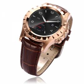 NO.1 SUN S2 Bluetooth Circular Dial Smart Watch Leather Band Heart Rate Monitor For IOS& Android SmartWatch Golden