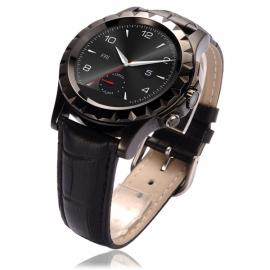 NO.1 SUN S2 Bluetooth Circular Dial Smart Watch Leather Band Heart Rate Monitor For IOS& Android SmartWatch Black