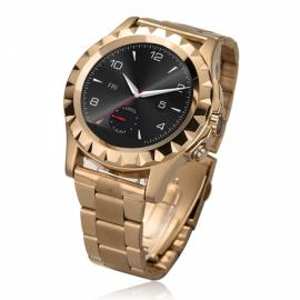NO.1 SUN S2 Bluetooth Circular Dial Smart Watch Stainless Steel Watch Band Heart Rate Monitor For IOS& Android SmartWatch Golden