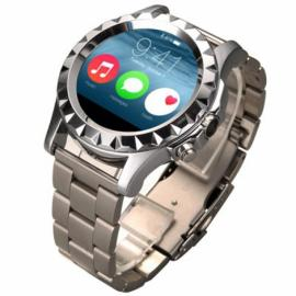 NO.1 SUN S2 Bluetooth Circular Dial Smart Watch Stainless Steel Watch Band Heart Rate Monitor For IOS& Android SmartWatch Silver