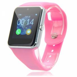 GV30 2.5D Curved Edge Capacitive Touch Screen SIM Card Bluetooth Smart Watch Pink & Silver