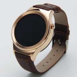 T3 Sleek Round Dial Nano Tempered Glass Screen Bluetooth Smart Watch Golden & Brown