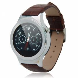 T3 Sleek Round Dial Nano Tempered Glass Screen Bluetooth Smart Watch Silver & Brown