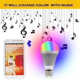5W RGB LED Cellphone APP Control Bluetooth 4.0 Smart Music Lamp Bulb White