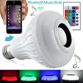 TS-D02 12W E27 LED RGB Seven-Color Light Wireless Bluetooth Speaker Music Lamp Bulb White