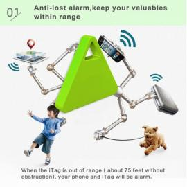 iTag-05 Wireless Bluetooth V4.0 Anti-Lost Alert Triangle Finder with Remote Selfie & Recording & Positioning Green