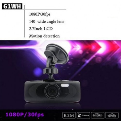 G1WHT 2.7 inch Full HD 1080P Car Dashcam DVR Recorder G-Sensor Generalplus GPCV2156 Black